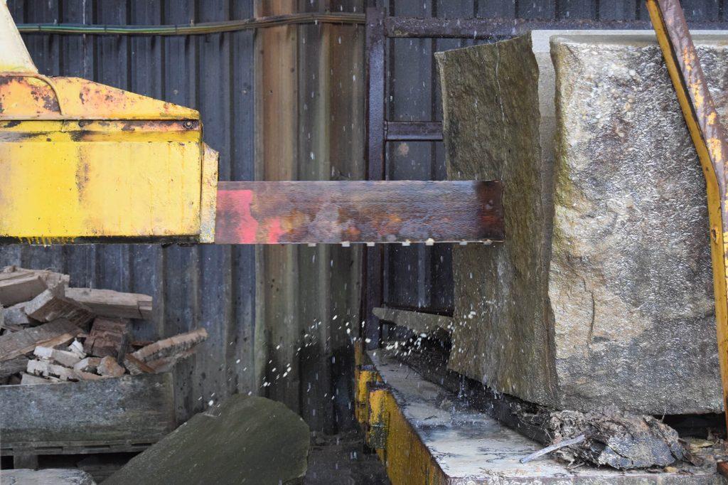 closeup of stone saw