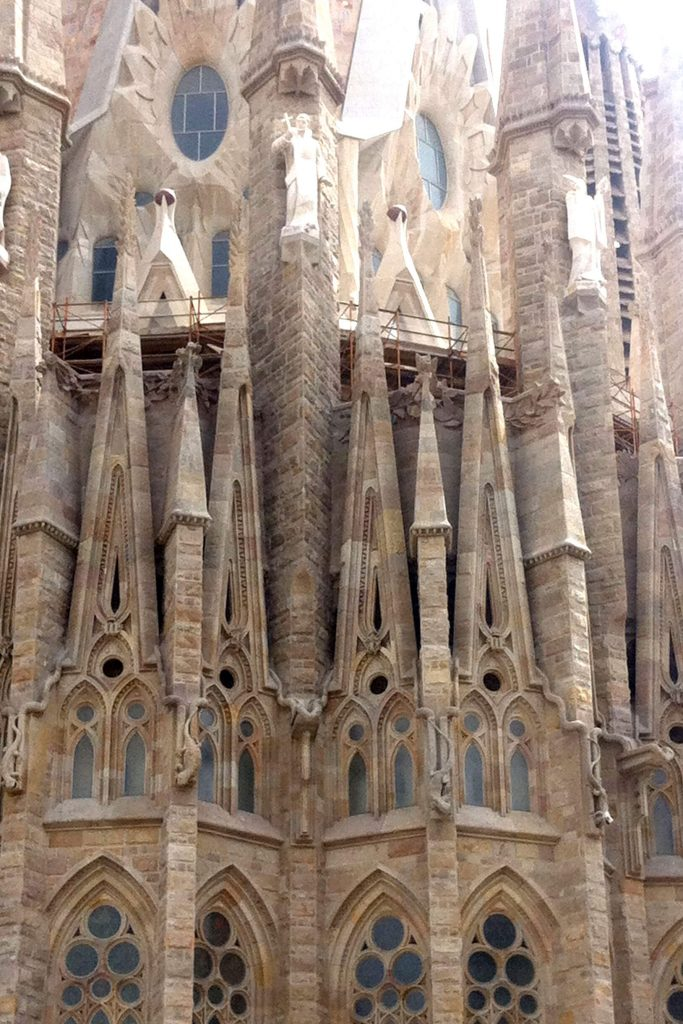 closeup of Basilica de la Sagrada Familia