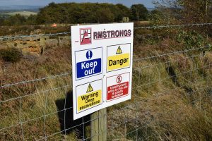 Armstrongs and the environment: Health and safety sign at Brinscall Quarry