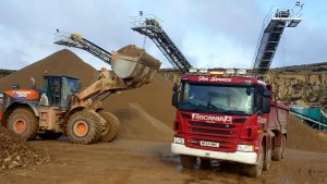 Wheel loader loading an Armstrongs wagon at Montcliffe Quarry