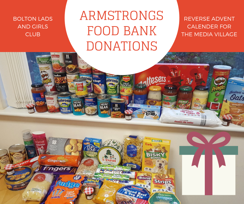 Armstrongs food bank donations