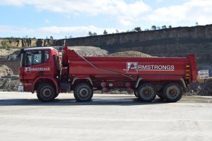 Iconic red Armstrongs Tipper wagon at Pilkington Quarry- Ideal for Muck Away